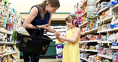 girl autism patient grocery shopping with mom