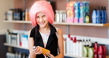 Pediatric leukemia patient aspiring to be a hair stylist
