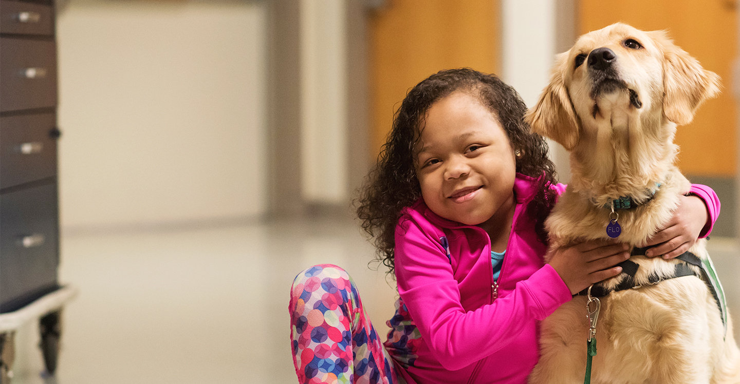 pediatric patient with canines for kids therapy dog