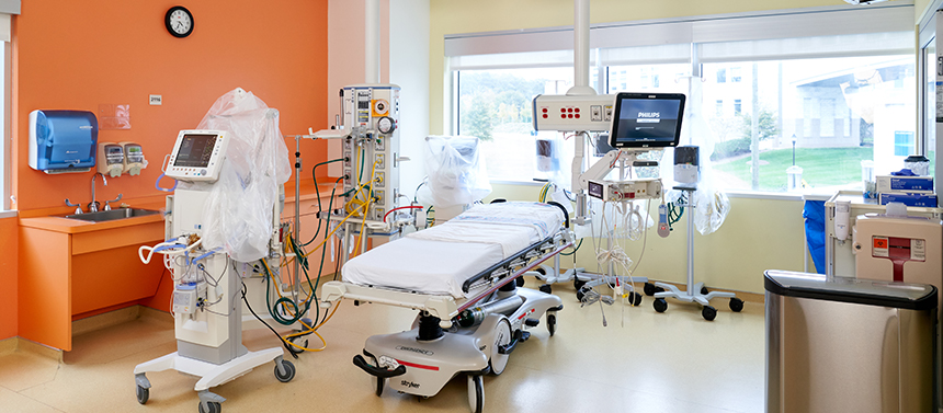 patient bed in intensive care unit area