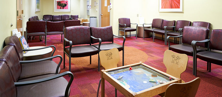 hospital waiting room with games