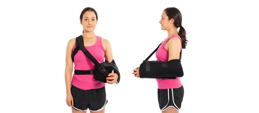 This shoulder immobilizer is often used after repair of the back of the shoulder socket.
