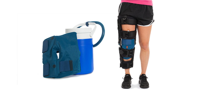 This device contains an ice pack that circulates cold water to reduce swelling after surgery and can be worn under an immobilizer.