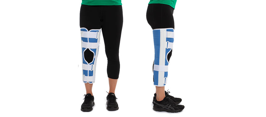 The knee immobilizer keeps the knee straight and fully extended, to prevent motion of the joint.