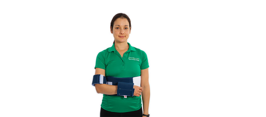 This shoulder immobilizer is used after shoulder surgery.