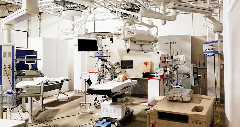 simulated hospital room used to test the new design