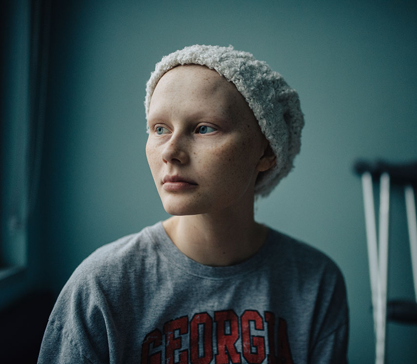 teen cancer patient waiting on chemotherapy
