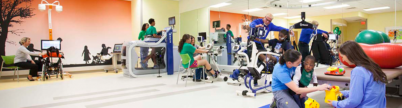 Patients and therapists working in the Center for Advanced Technology and Robotic Rehabilitation